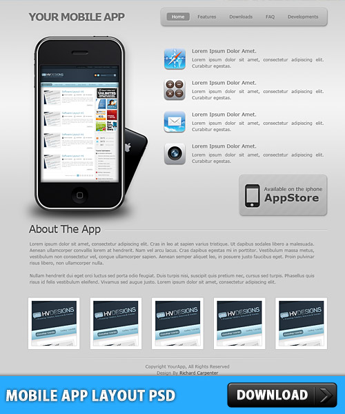 Mobile app layout psd download psd for Mobile site template free download