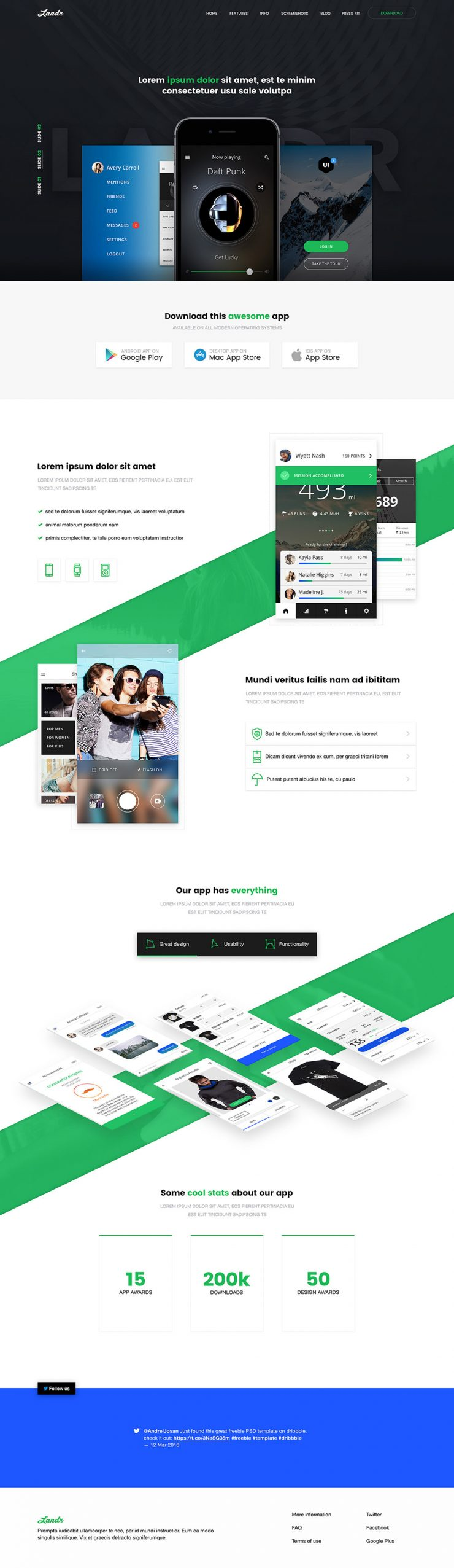 Mobile application landing page free psd template for Mobile site template free download
