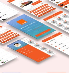 Mobile Chat Application UI Design Free PSD Set