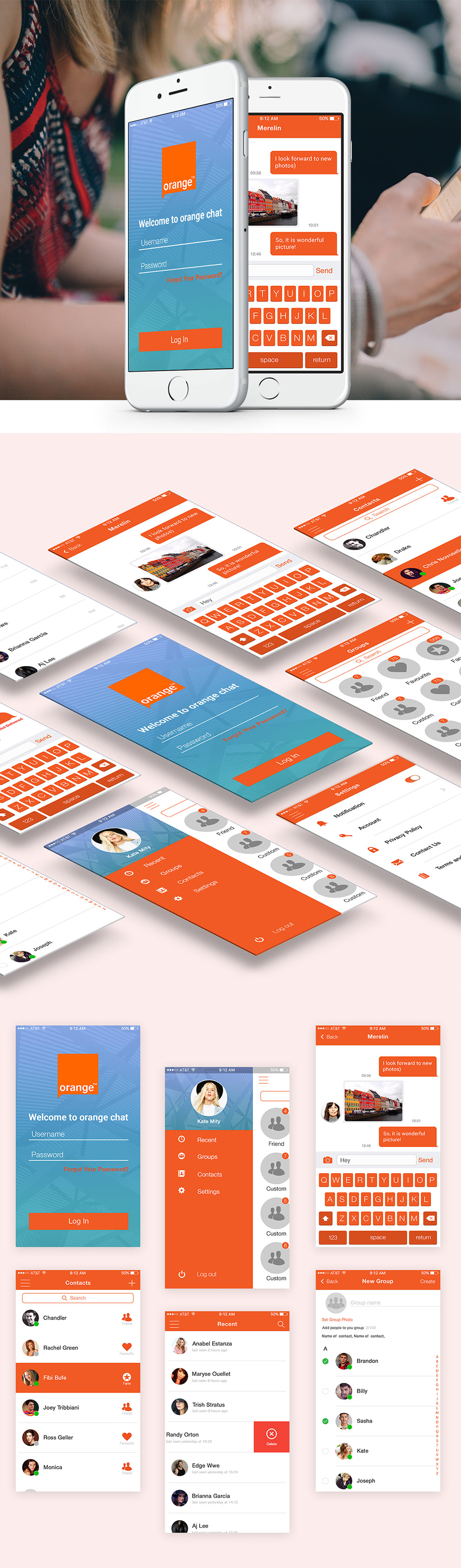 Mobile Chat Application UI Design Free PSD Set Download - Download PSD