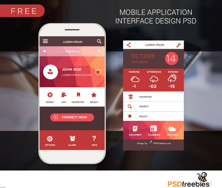 Mobile Home Screen UI Design Free PSD