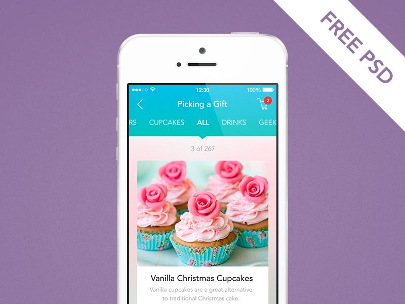 Mobile Shopping Catalog Screen PSD