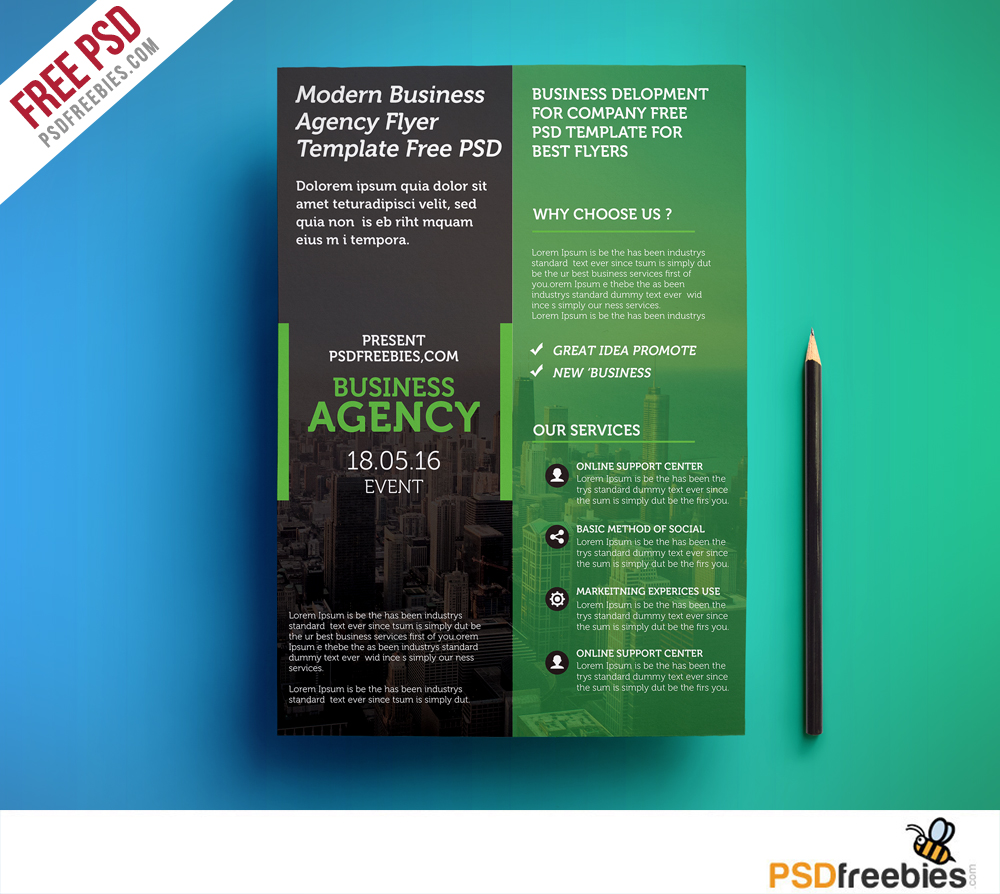 Modern business agency flyer template free psd download for Brochure template psd free download