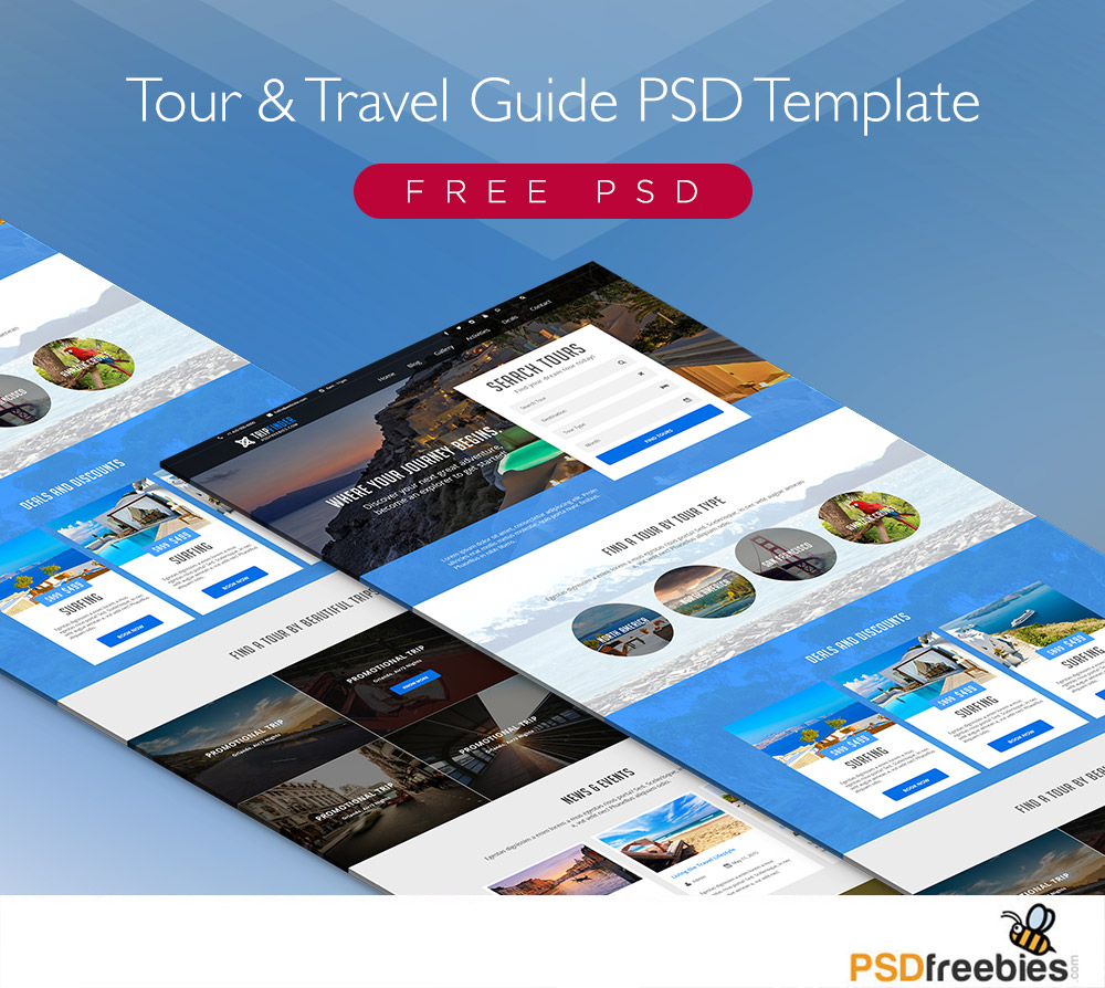Modern Travel Booking Site Web Template Free PSD