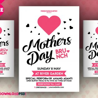 Mothers Day Invitation Flyer Free PSD