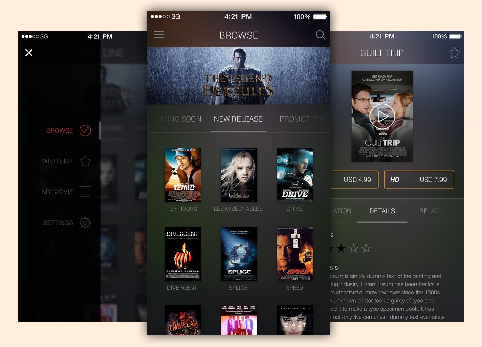 Movie App UI Free PSD Template Download - Download PSD