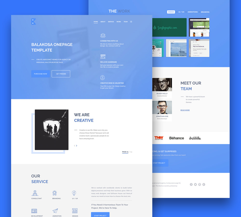 Multipurpose One Page Website Template Free PSD