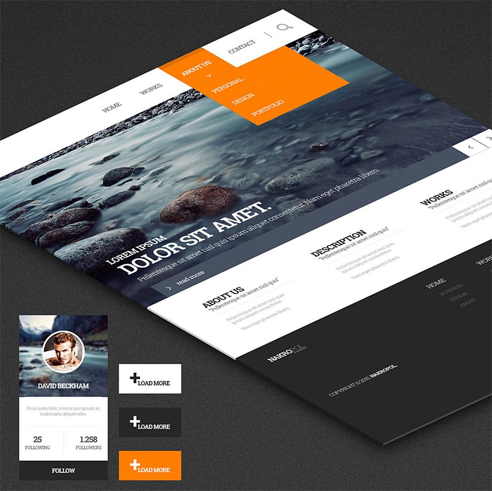 Multipurpose Web UI Kit Free PSD Template - Download PSD