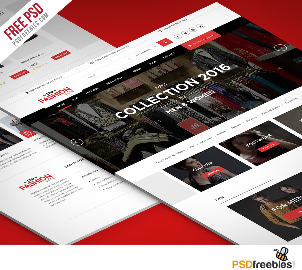 Multipurpose eCommerce Fashion Website free PSD Template