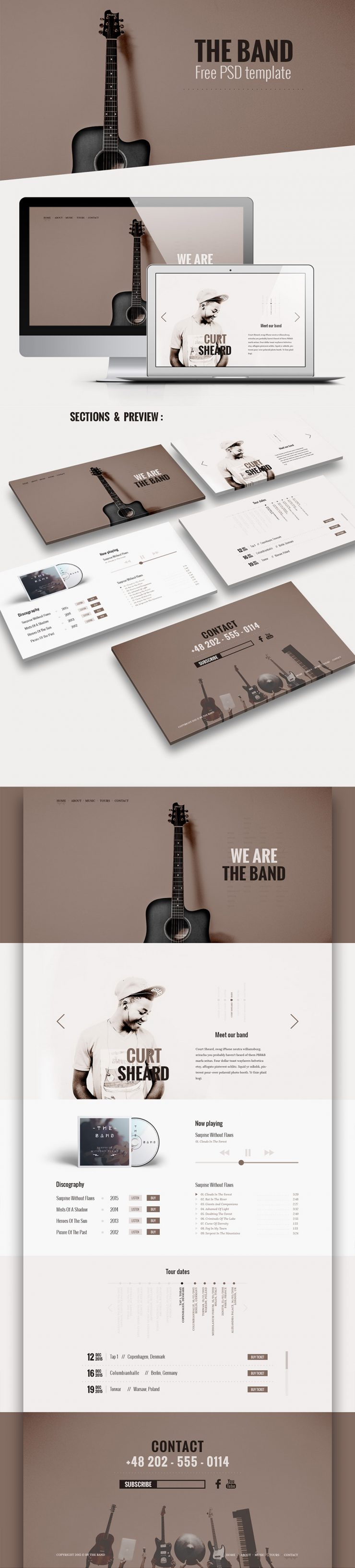 Music Band Website Template Free PSD