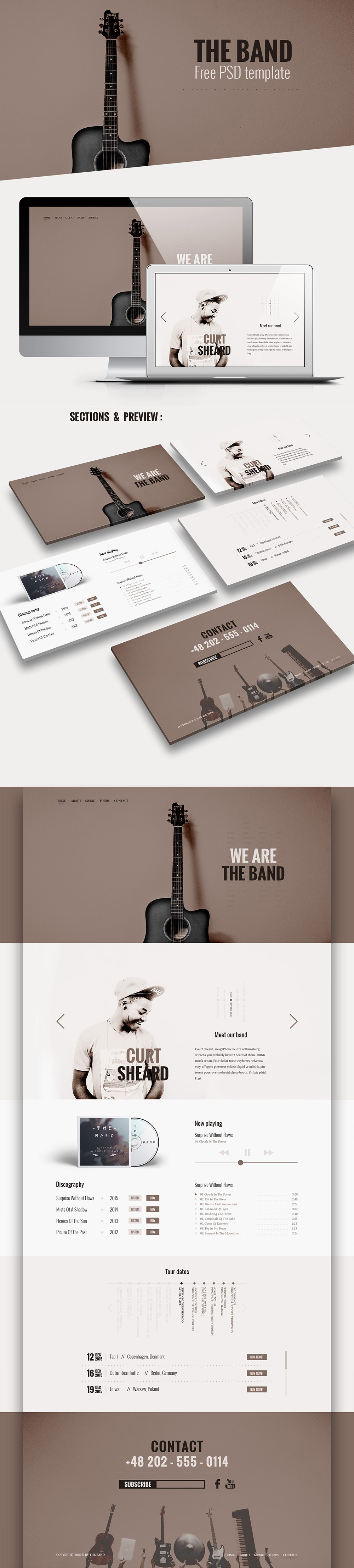 Music Band Website Template Free PSD Download - Download PSD