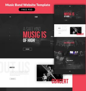 Music Band Website Template PSD