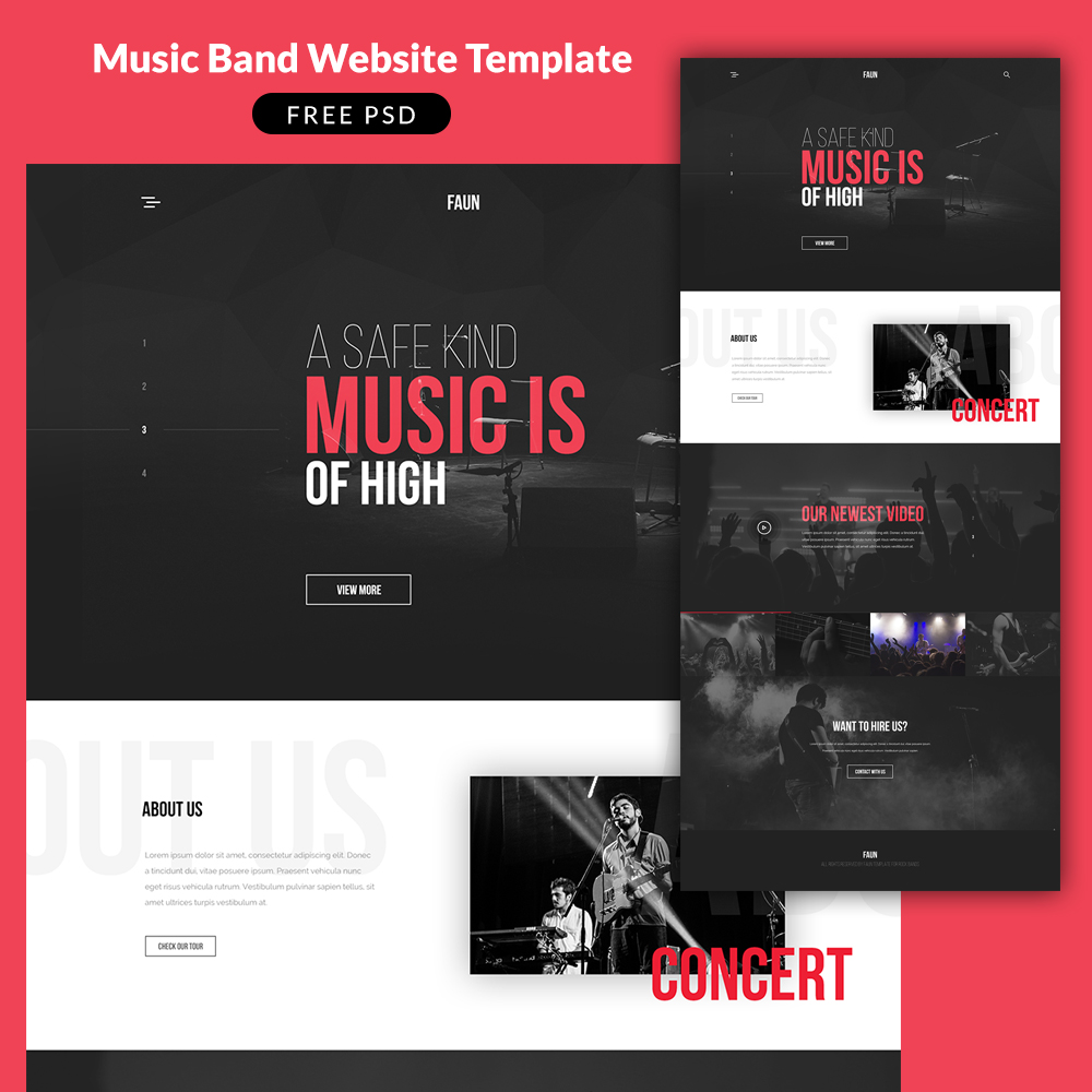 music band website template psd download psd. Black Bedroom Furniture Sets. Home Design Ideas