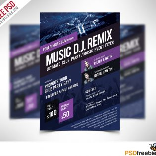 Music Event Flyer Template Free PSD