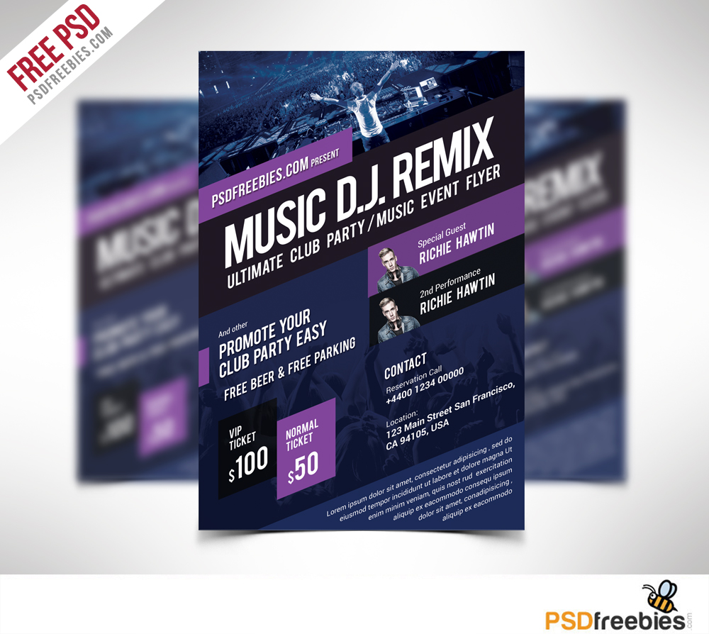 Music event flyer template free psd download download psd for Free psd flyer templates
