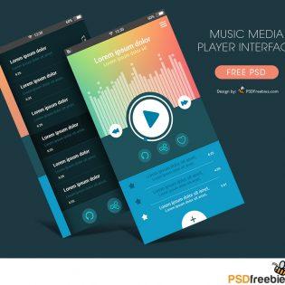 Music Media Player App Interface Free PSD