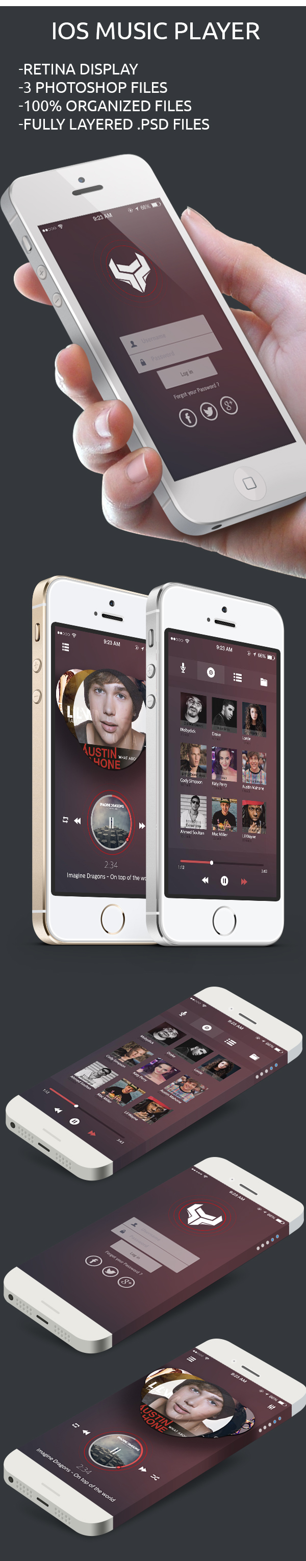 Music Player App PSD file