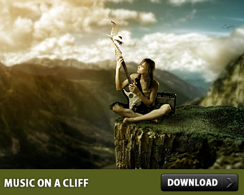 Music on a Cliff PSD Tone PSD images PSD file PSD Photo Manipulation Nature Music Mountains Layered PSDs Human Guitar Free PSD download psd Download Cloud