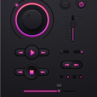 Dark Music Player UI kit PSD