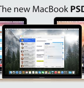 New Apple MacBook 2015 PSD PSD, Objects, NoteBook, new, Modern, mock-up, Mock, Macbook, Mac, Layered PSDs, Laptop, Freebie, Free PSD, Free, Electronics, Download, Computer, Apple, 2015,