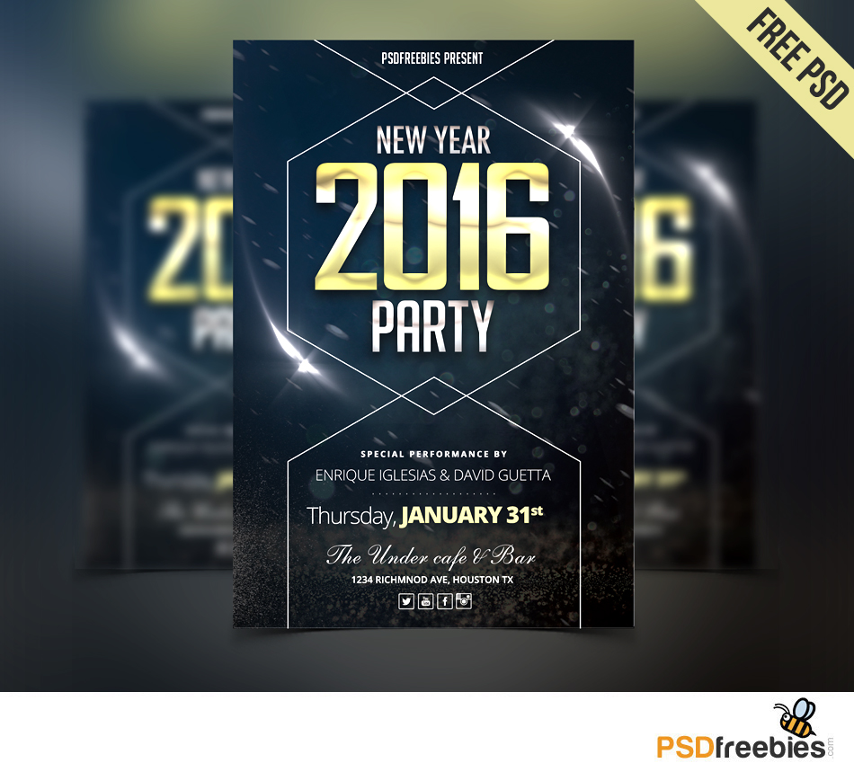 new year party flyer free psd download download psd. Black Bedroom Furniture Sets. Home Design Ideas
