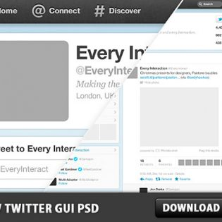 New twitter GUI Free PSD File