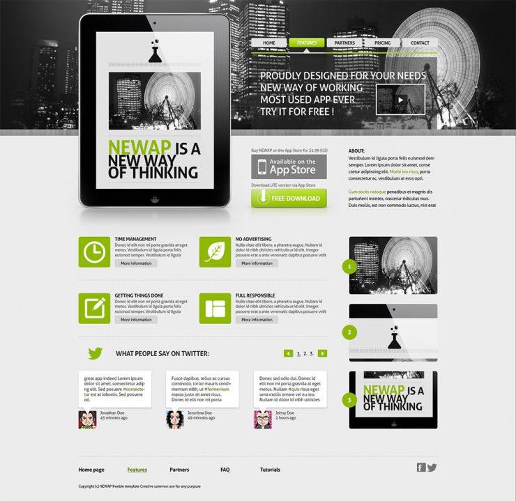 Newap App Website Template PSD