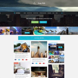 News Blog Free Website Template PSD