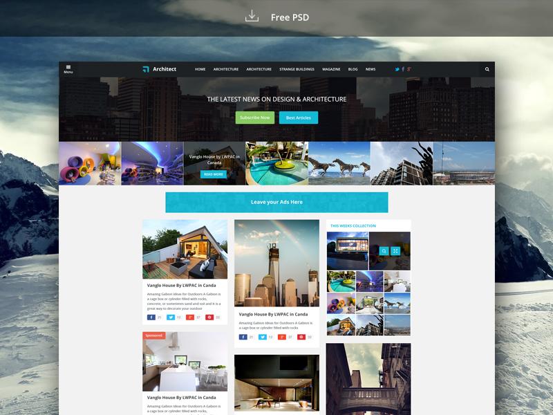 News Blog Free Website Template PSD Download Download PSD - News website design template