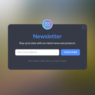 Newsletter Form Popup Design Free PSD
