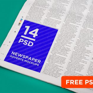 Newspaper Advert Mockup Template Free PSD