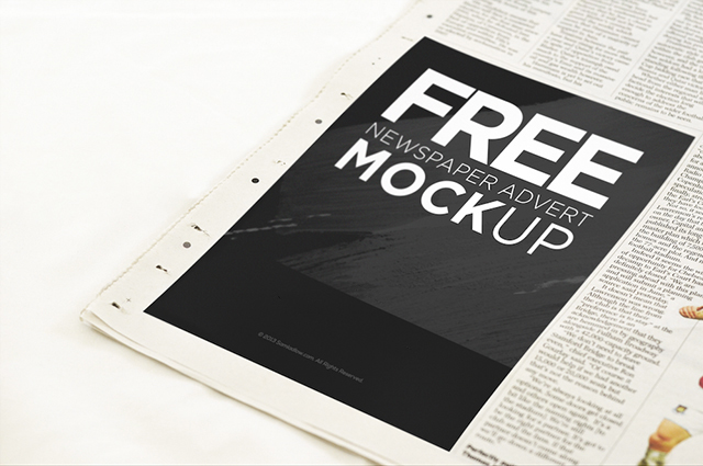 Newspaper advertisement mockup psd freebie download for Paper advertisement templates