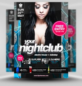 Nightclub Flyer Template PSD venue unique Template Stylish Resources Quality Print template Print Party pack original nightclub new Neon Music Modern Layered PSDs hi-res HD Graphics Fresh Flyer Event detailed Design Template Design Creative Clean