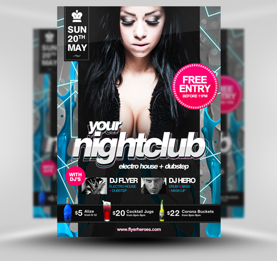 Nightclub Flyer Template PSD venue, unique, Template, Stylish, Resources, Quality, Print template, Print, Party, pack, original, nightclub, new, Neon, Music, Modern, Layered PSDs, hi-res, HD, Graphics, Fresh, Flyer, Event, detailed, Design Template, Design, Creative, Clean,