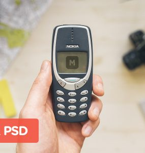 Nokia 3310 Mobile Phone Mockup PSD Vintage, unique, Showcase, PSD Set, PSD Pack, PSD, Phone, pack, orignal, old age, Old, Nokia, mockups, Mockup, Mobile, High Resolution, high quality, hi-res, hand, Fresh, Freebie, Free PSD, Free, Download, cellular, 3315, 3310, 1990s,