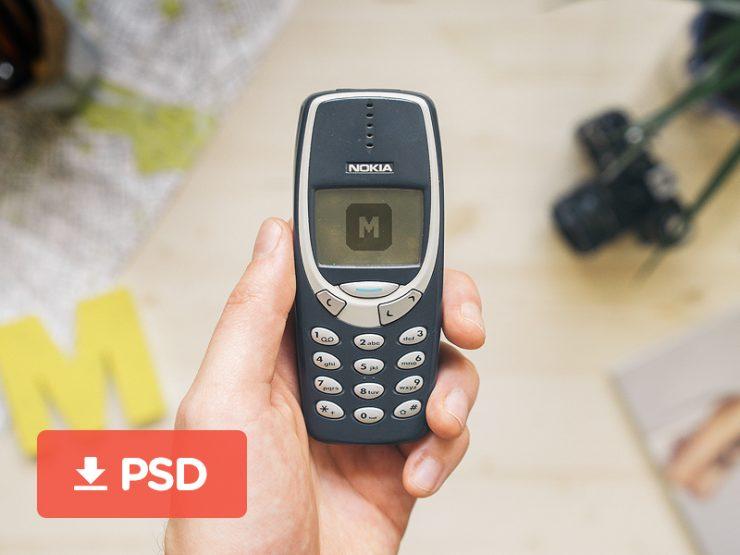 Nokia 3310 Mobile Phone Mockup PSD
