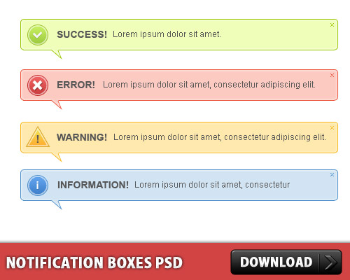 3 Different Styles of Notification Boxes Web Resources Web Elements Warning Stop Resources Psd Templates PSD Sources psd resources PSD images psd free download psd free PSD file psd download PSD Notification Message Layered PSDs GUI Free PSD Error Massage Error Elements download psd download free psd