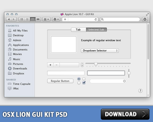 OSX Lion GUI Kit Free PSD Web Resources Web Elements URL Fields Tabbed Content Sliders Sidebar Search Scroll Bar Resources Radio Button Psd Templates PSD Sources psd resources PSD images psd free download psd free PSD file psd download PSD OSX OS Navigation Elements Main Window Lion Layered PSDs Icons Icon PSD GUI Graphical User Interface Free PSD Free Icons Free Icon Elements Drop Down download psd download free psd Check Boxes Check Box Buttons Button Apple