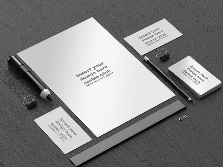 Office Stationery Mockup Template Free PSD
