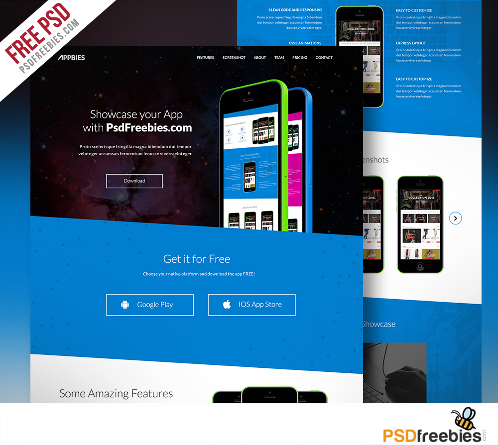 single page brochure templates psd - one page app landing free psd template download download psd
