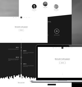 One Page Flat Black and White PSD Template