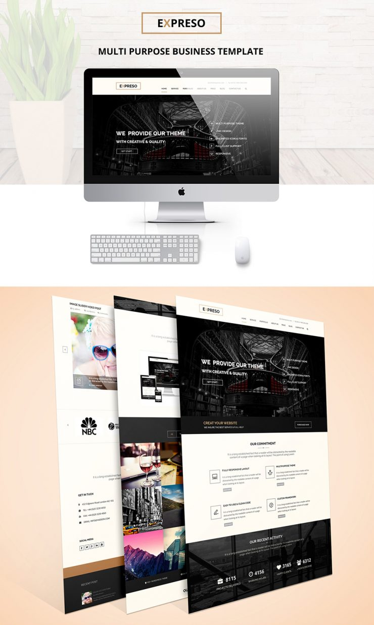 one page multipurpose business template free psd download download psd. Black Bedroom Furniture Sets. Home Design Ideas