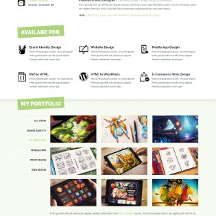 One Page Resume Website Template PSD