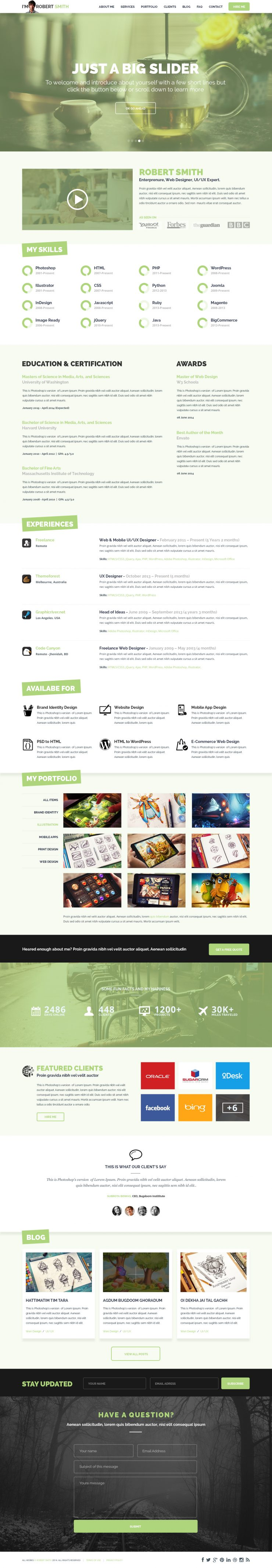 one page resume website template psd download