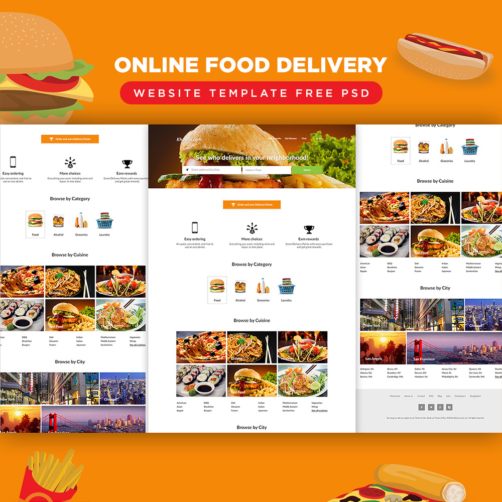 online food delivery website template free psd download psd. Black Bedroom Furniture Sets. Home Design Ideas