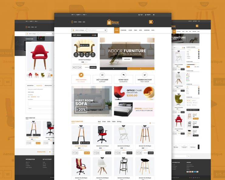Online Retail Store Website Template Free PSD