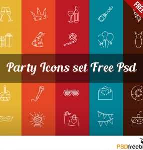 Party Celebration Line Icon Set Free PSD