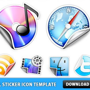 Peeling Sticker Icon Template PSD
