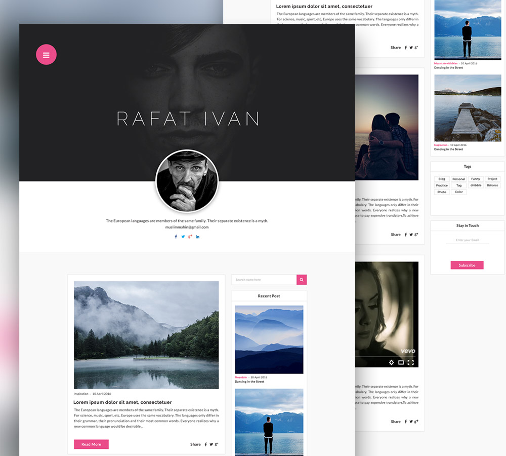 Personal Blog Website Template Free Psd Download  Download Psd