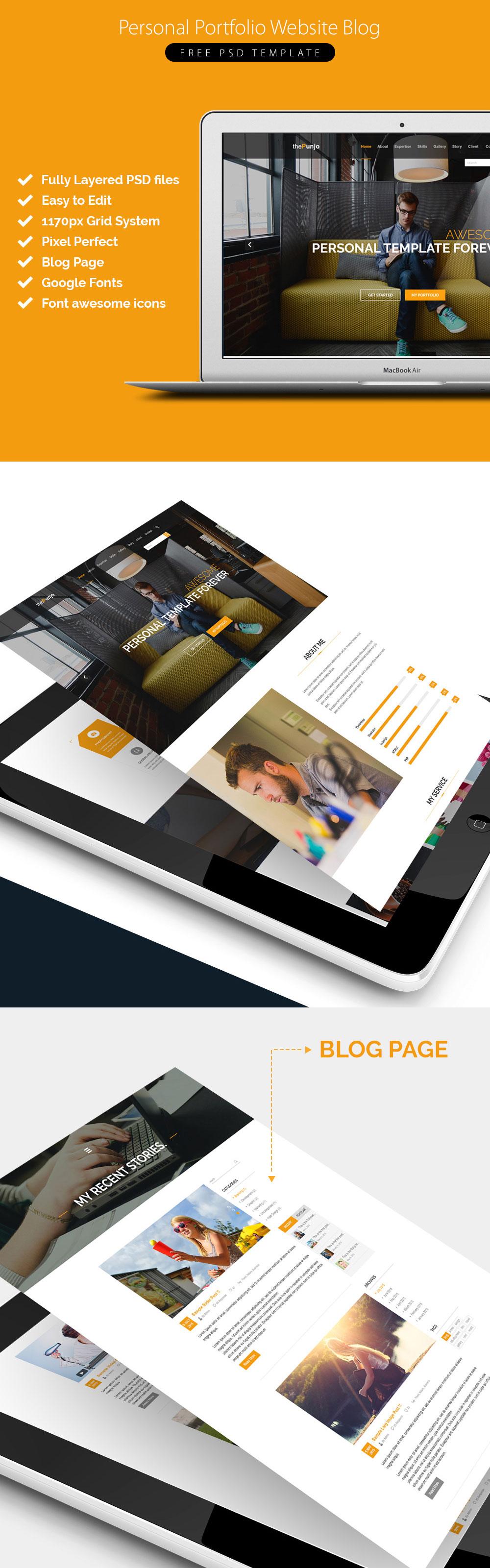 Personal Portfolio Website Blog Free PSD Template